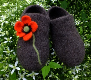 poppy felted clogs
