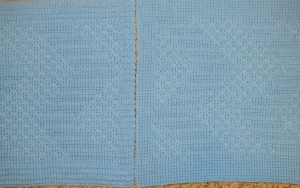 Left blanket knitted from file. Right blanket knitted adding borders into console.