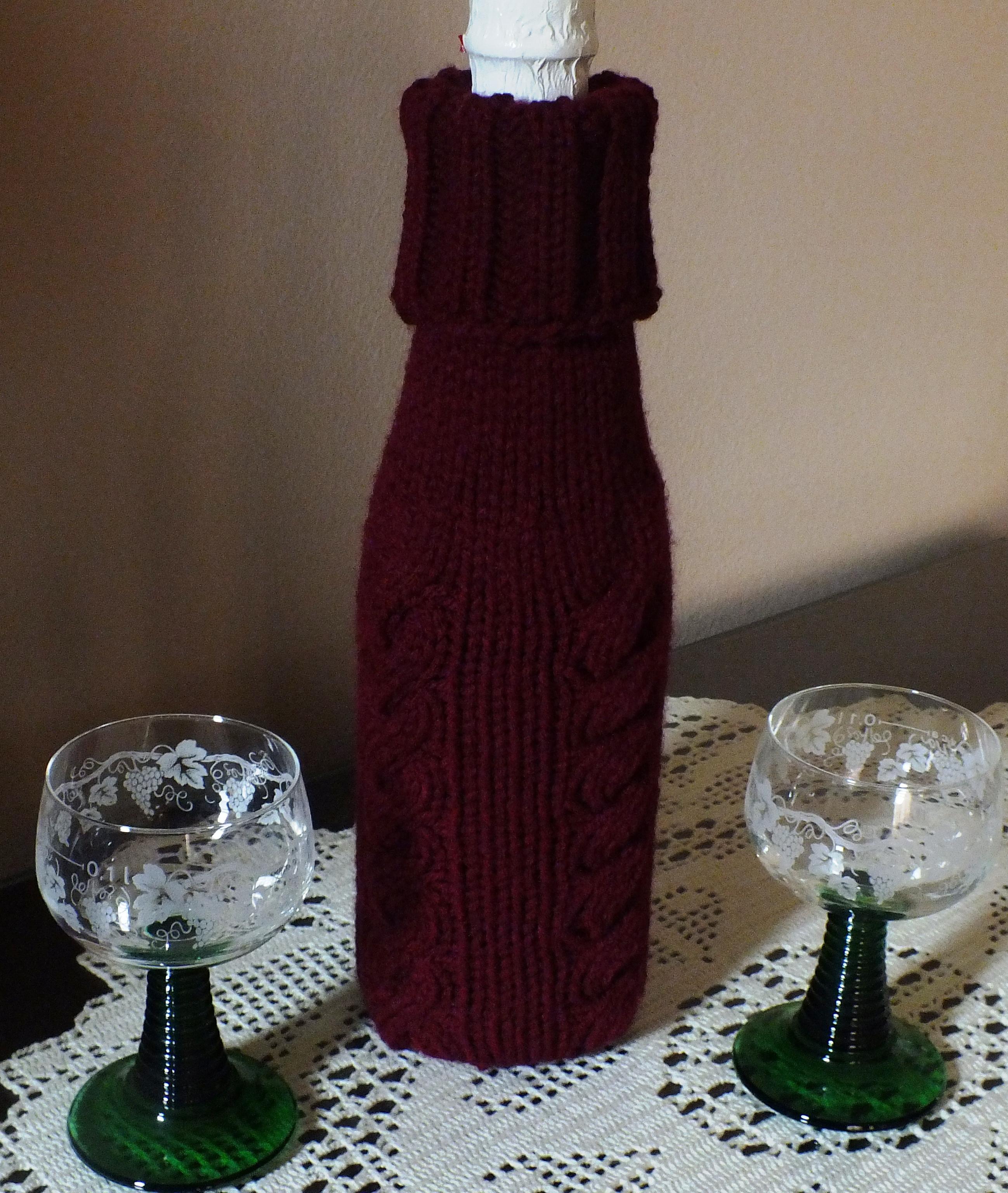 Machine Knitted Wine Bottle Cover | Cckittenknits\'s Weblog